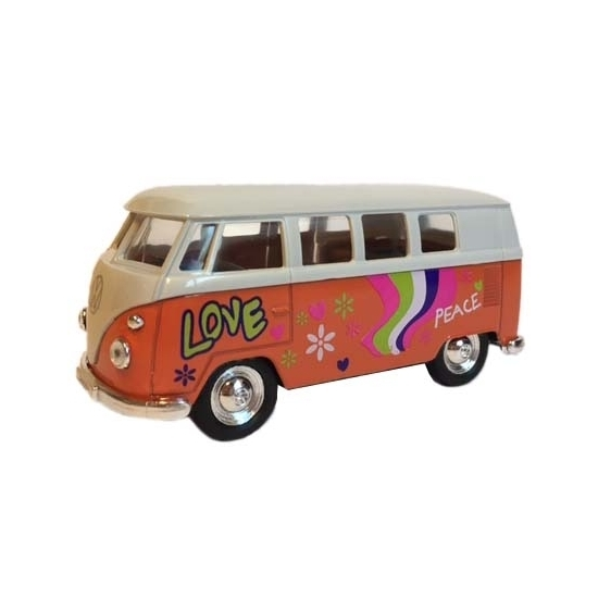 Speelauto Volkswagen hippiebusje print oranje 15 cm Geen Speelgoedvoertuigen