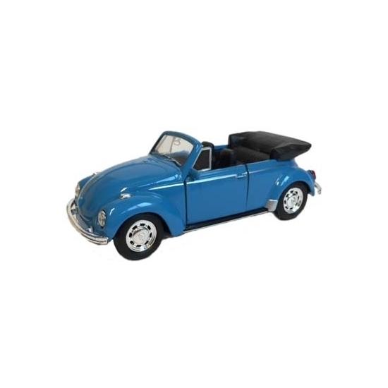 Geen Speelauto Volkswagen Kever blauw open dak 12 cm Speelgoedvoertuigen
