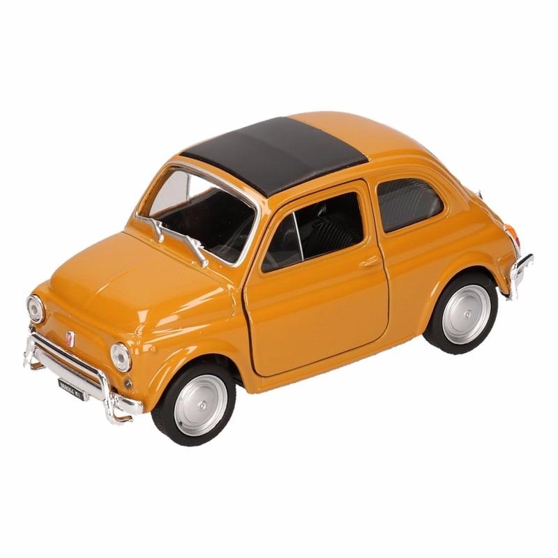 Speelgoedvoertuigen Fiat Speelgoed Fiat 500 classic geel mosterd Welly autootje 1 36