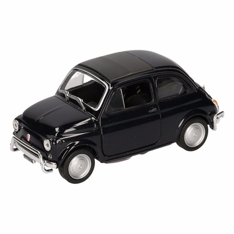 Speelgoedvoertuigen Fiat Speelgoed Fiat 500 classic zwart Welly autootje 10,5 cm
