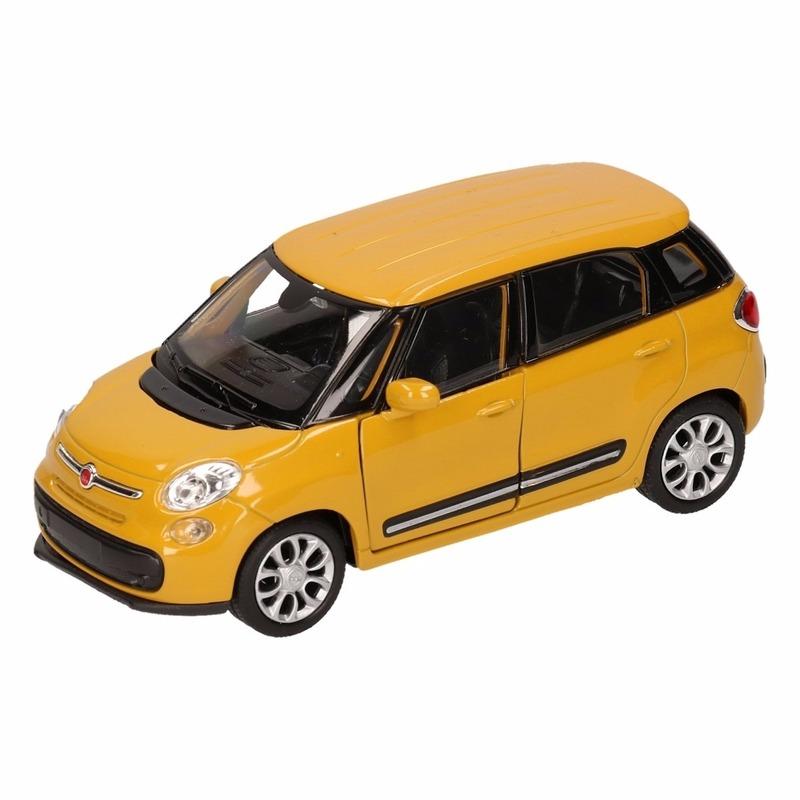 Fiat Speelgoed Fiat 500 L geel Welly autootje 11,5 cm Speelgoedvoertuigen