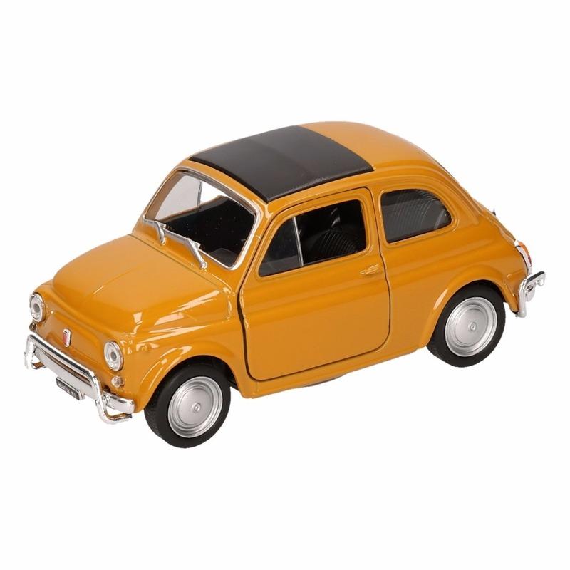 Speelgoed Fiat Nuova 500 donkergeel Welly autootje 10,5 cm Fiat voordeligste prijs