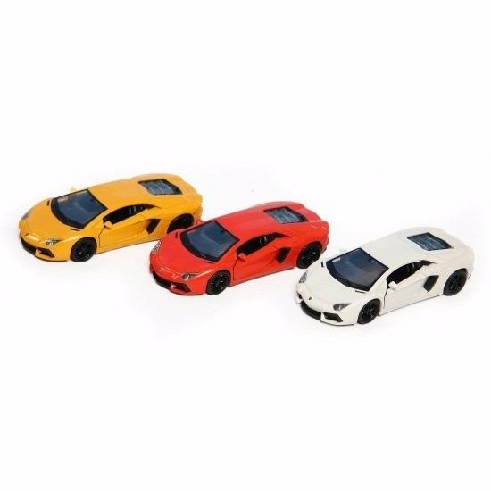 Speelgoedvoertuigen Lamborghini Speelgoed Lamborghini Aventador LP700 4 geel Welly autootje 12 cm