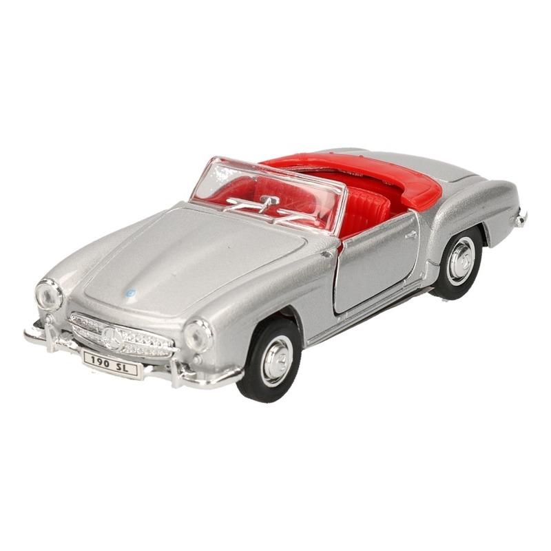 Speelgoedvoertuigen Mercedes Speelgoed Mercedes Benz 1955 190SL zilver Welly autootje 12 cm
