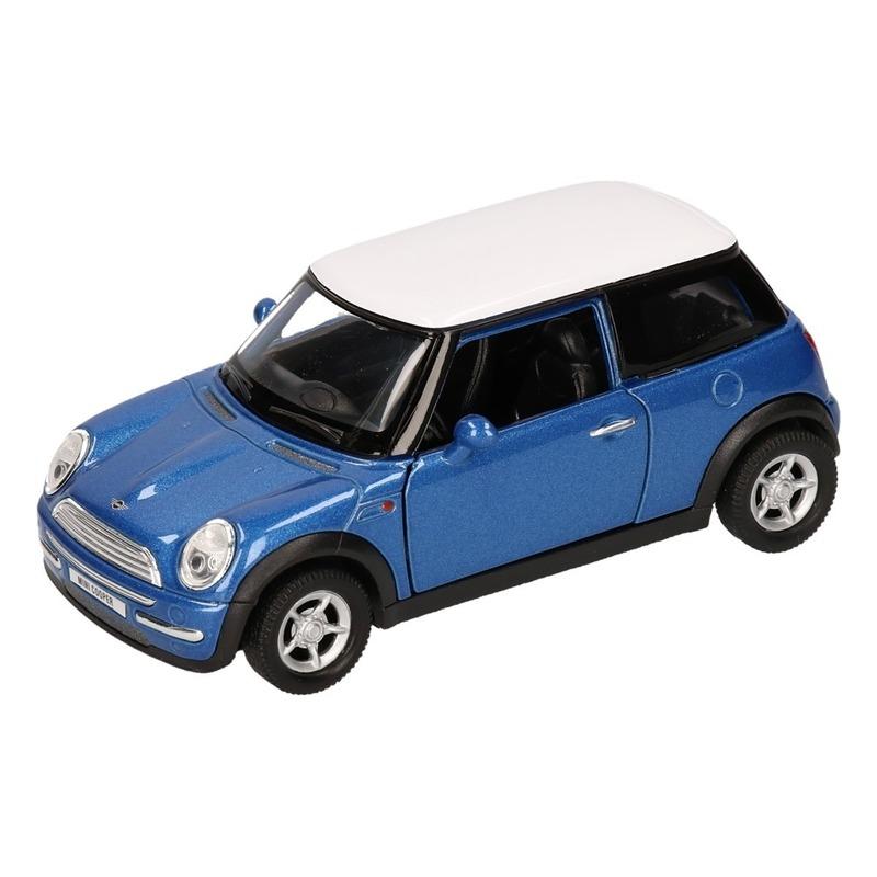 Mini Cooper Speelgoed Mini Cooper blauw autootje 12 cm Speelgoedvoertuigen