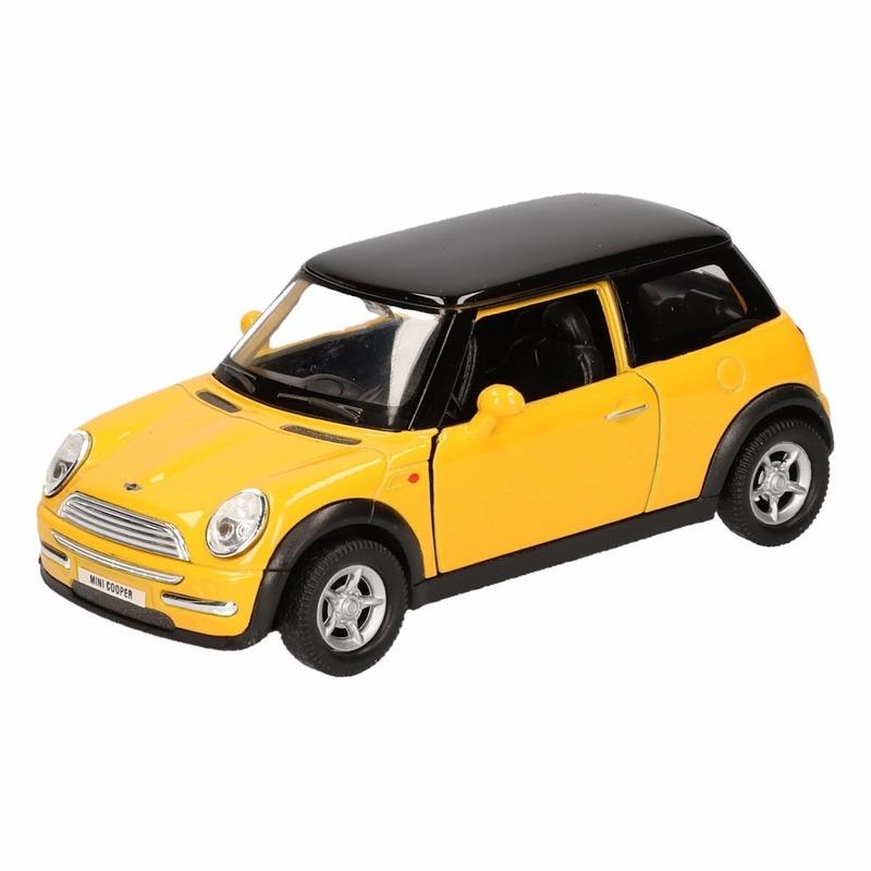 Speelgoed Mini Cooper geel autootje 12 cm Mini Cooper Speelgoedvoertuigen