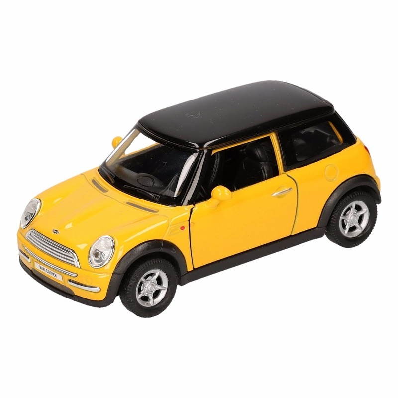 Speelgoed Mini Cooper geel Welly autootje 11 cm Mini Cooper Speelgoedvoertuigen