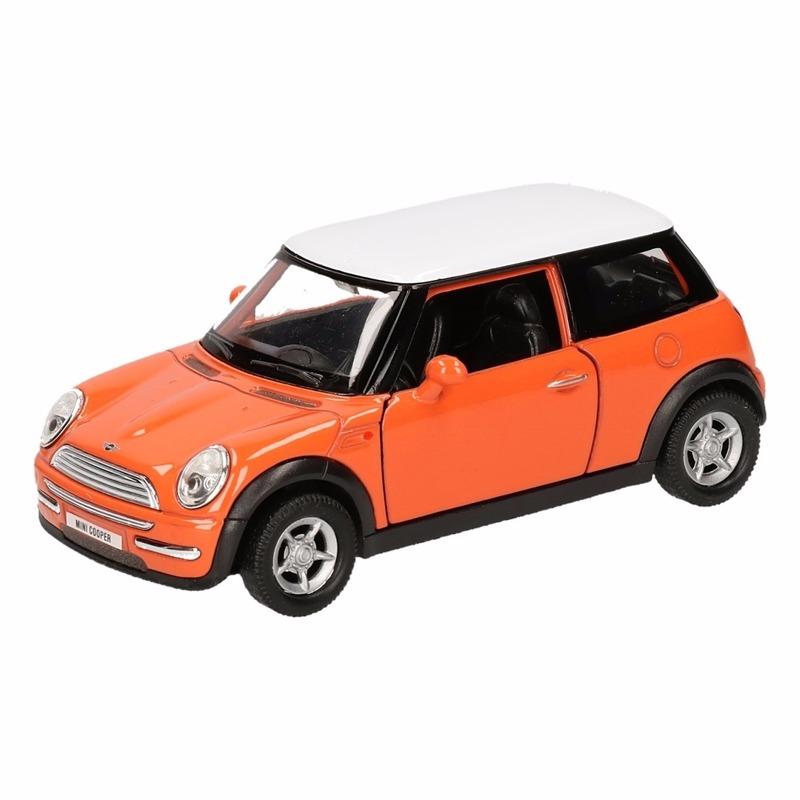 Speelgoedvoertuigen Mini Cooper Speelgoed Mini Cooper oranje autootje 12 cm