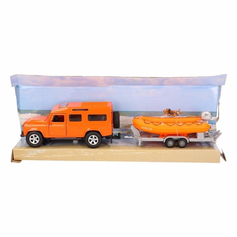 Speelgoedvoertuigen Geen Speelgoed oranje auto Land Rover met reddingsboot