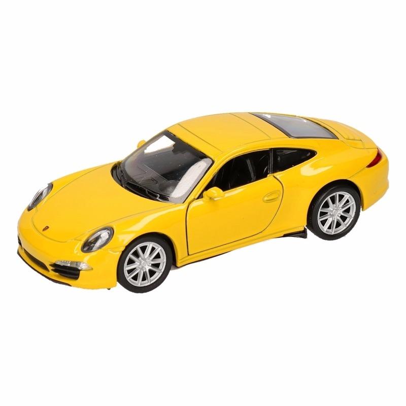 Speelgoed Porsche 911 Carrera S geel Welly autootje 1 36 Porsche Speelgoedvoertuigen