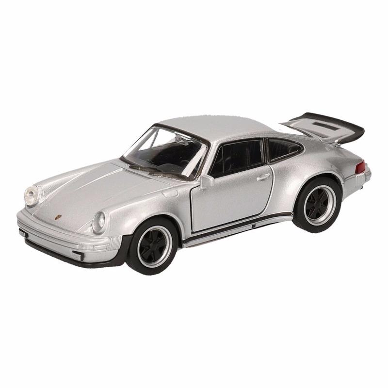 Porsche Speelgoed Porsche 911 Turbo grijs autootje 12 cm Speelgoedvoertuigen