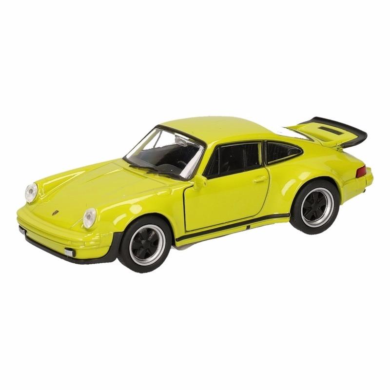 Speelgoed Porsche 911 Turbo groen autootje 12 cm Porsche Speelgoedvoertuigen