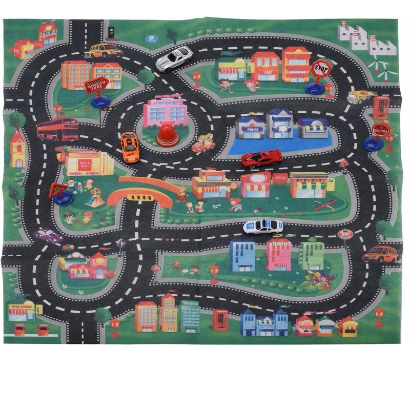 Speelgoedvoertuigen Speelmat race circuit met 4 auto 70 x 80 cm