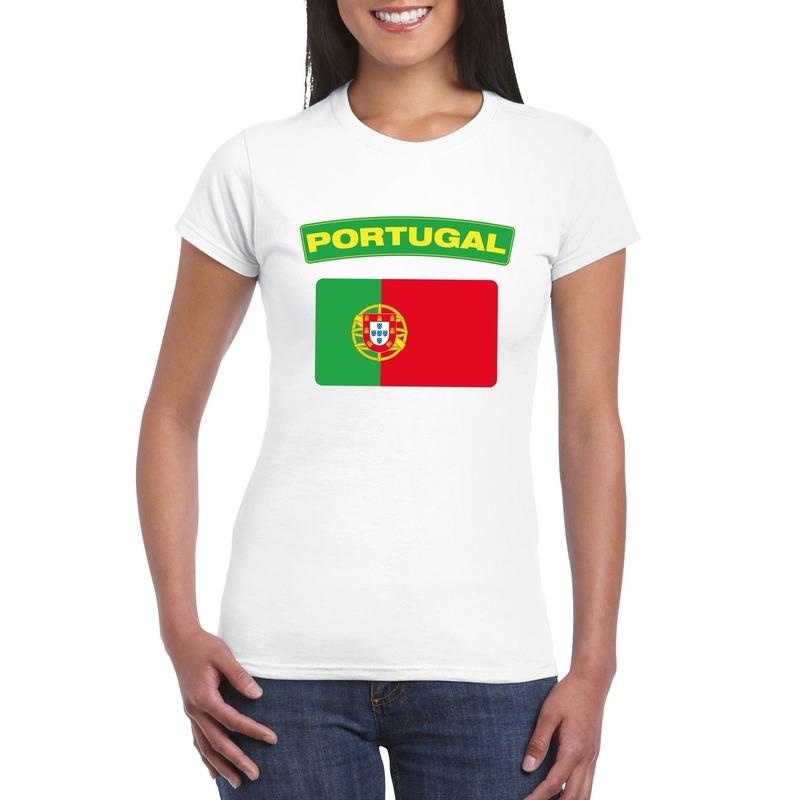 Shoppartners T shirt Portugese vlag wit dames Landen versiering en vlaggen