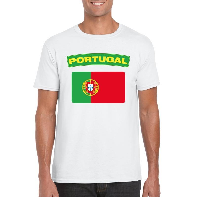 Landen versiering en vlaggen T shirt Portugese vlag wit heren