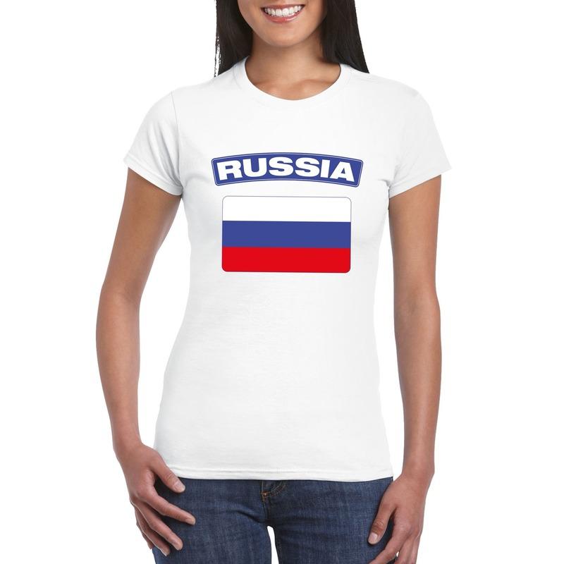 Landen versiering en vlaggen Shoppartners T shirt Russische vlag wit dames