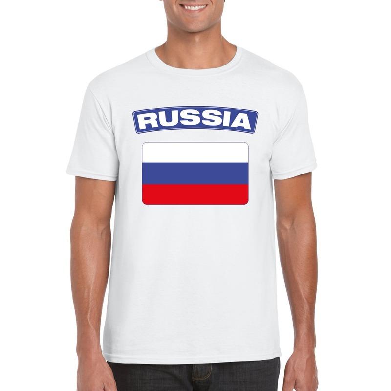 T shirt Russische vlag wit heren Shoppartners Landen versiering en vlaggen