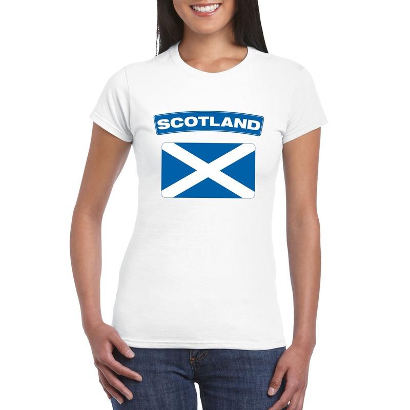 Shoppartners T shirt Schotse vlag wit dames Landen versiering en vlaggen