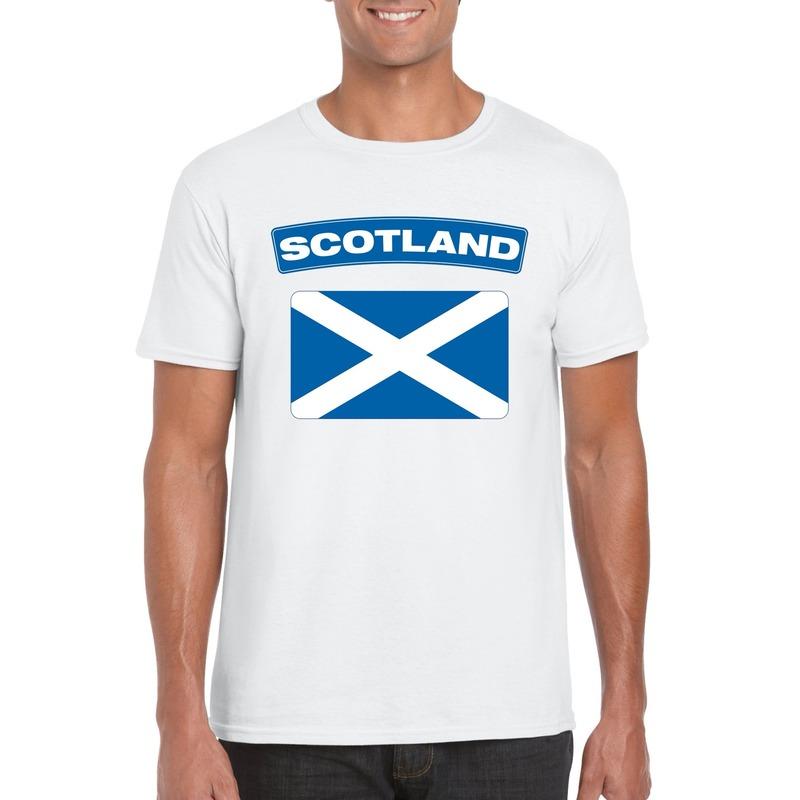 Landen versiering en vlaggen T shirt Schotse vlag wit heren