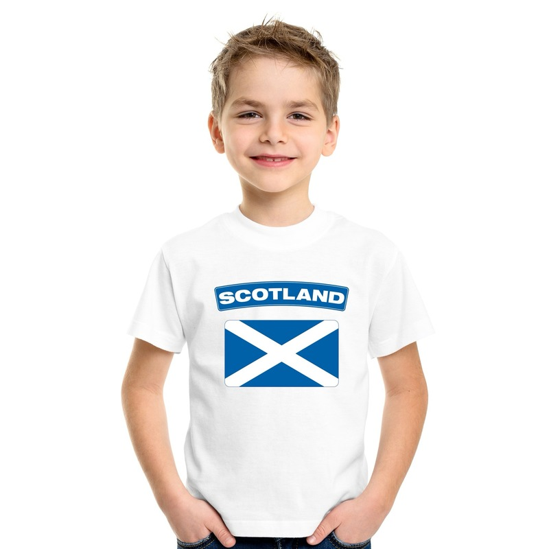 T shirt Schotse vlag wit kinderen Shoppartners Landen versiering en vlaggen