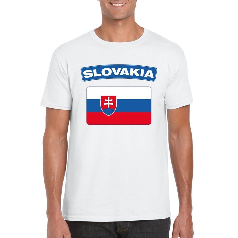 Landen versiering en vlaggen Shoppartners T shirt Slowaakse vlag wit heren