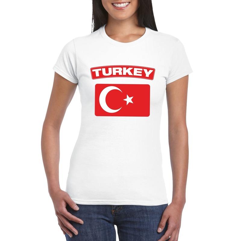 Shoppartners T shirt Turkse vlag wit dames Landen versiering en vlaggen