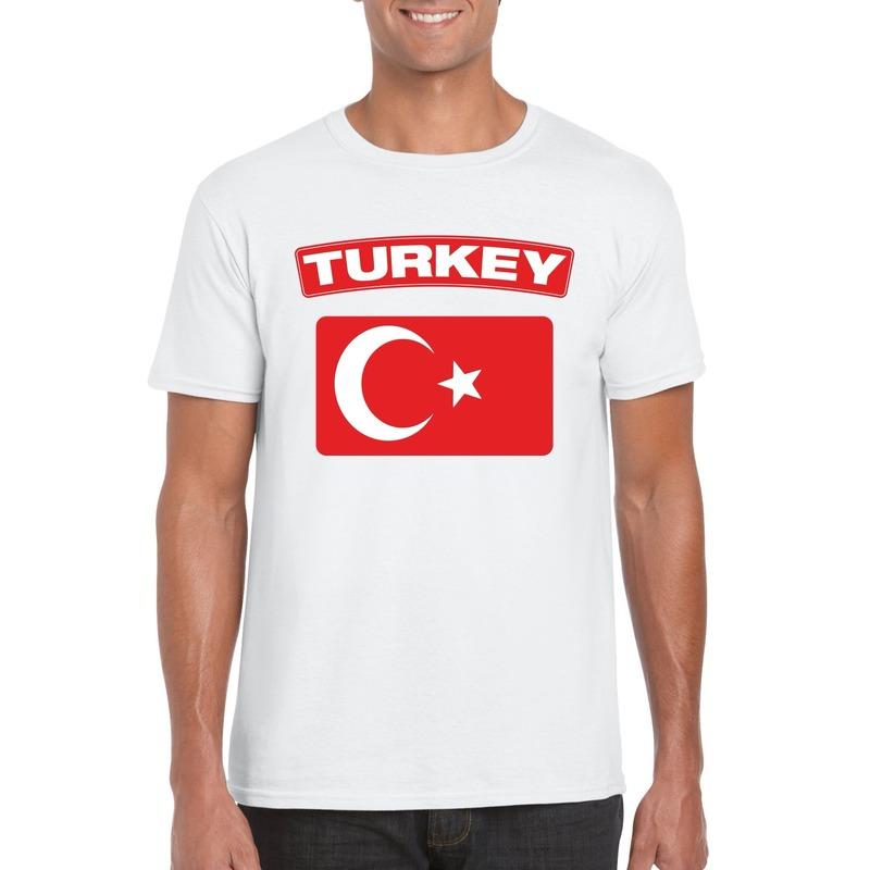Landen versiering en vlaggen T shirt Turkse vlag wit heren