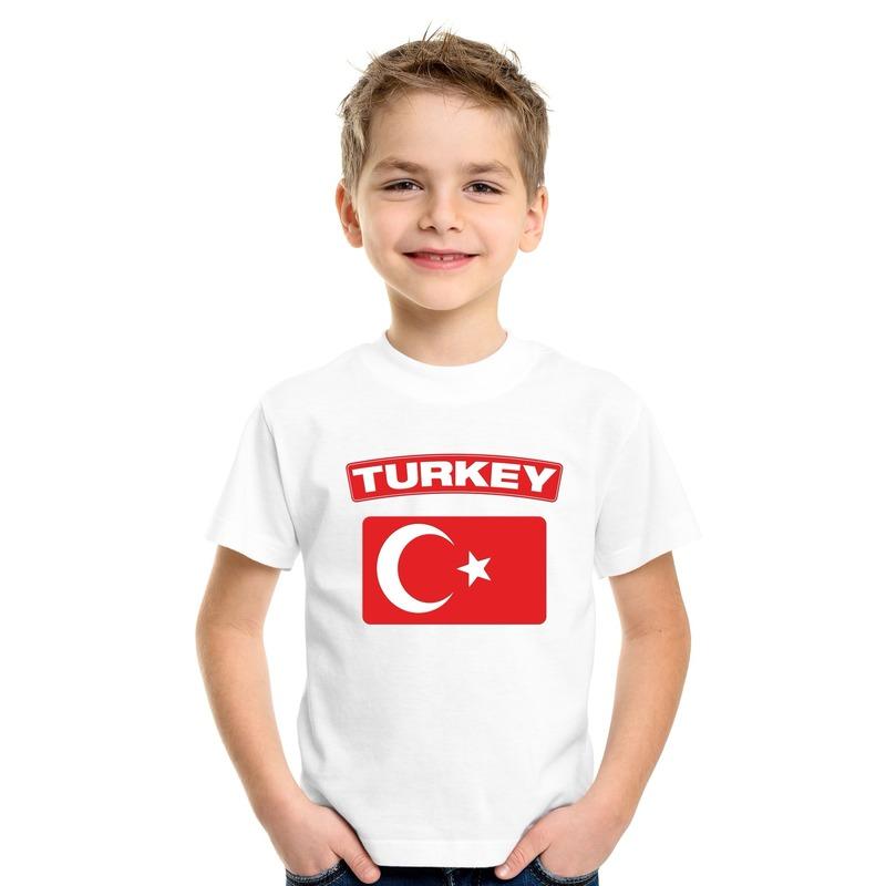 T shirt Turkse vlag wit kinderen Shoppartners Landen versiering en vlaggen