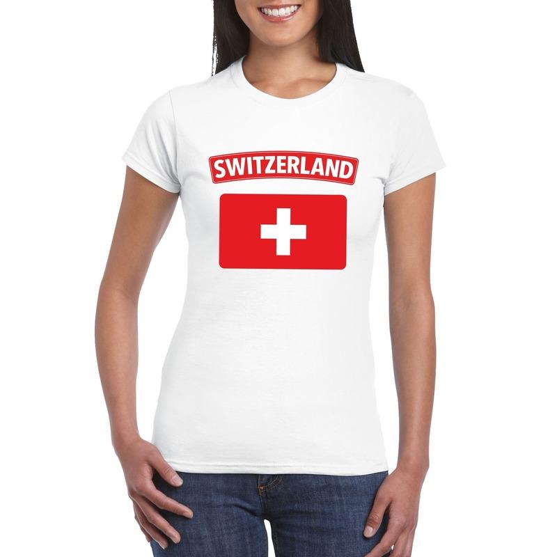 Landen versiering en vlaggen Shoppartners T shirt Zwitserse vlag wit dames