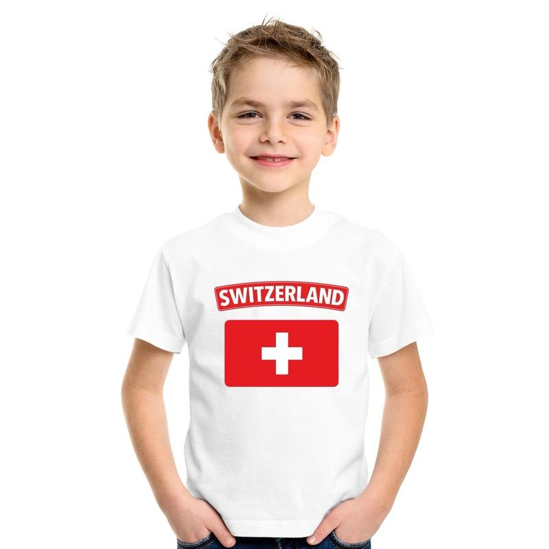 T shirt Zwitserse vlag wit kinderen Shoppartners Schitterend