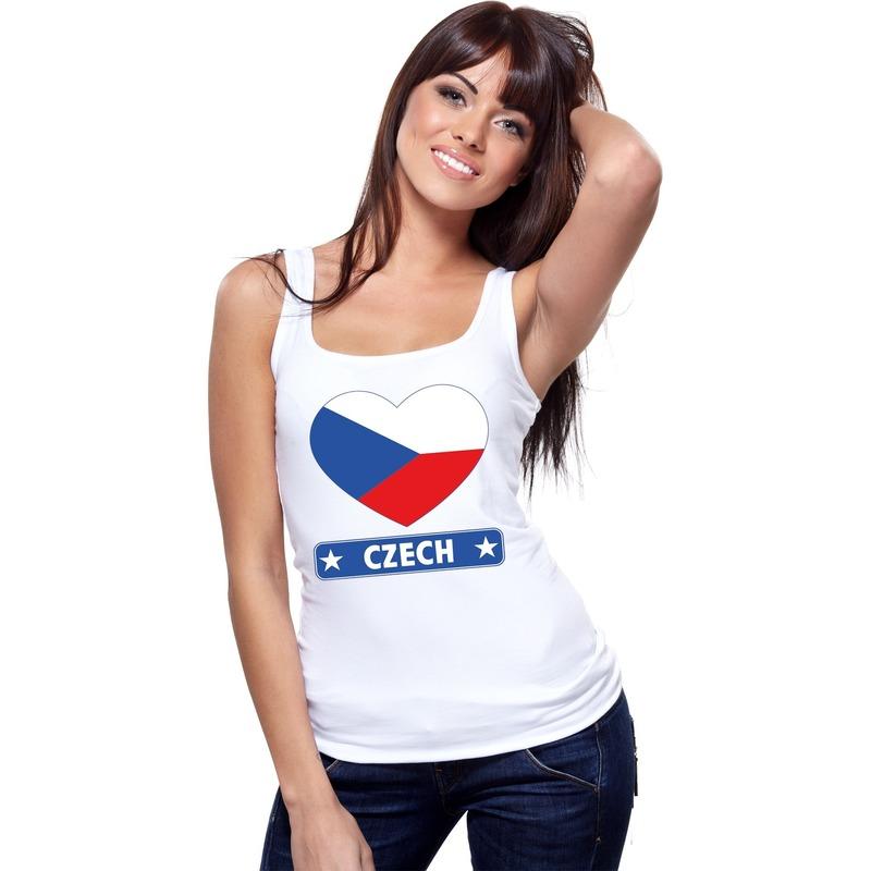 Landen versiering en vlaggen Tsjechie hart vlag mouwloos shirt wit dames