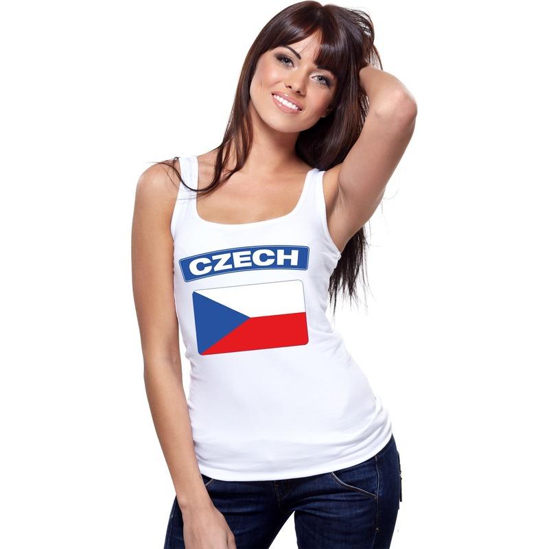 Shoppartners Tsjechie vlag mouwloos shirt wit dames Landen versiering en vlaggen