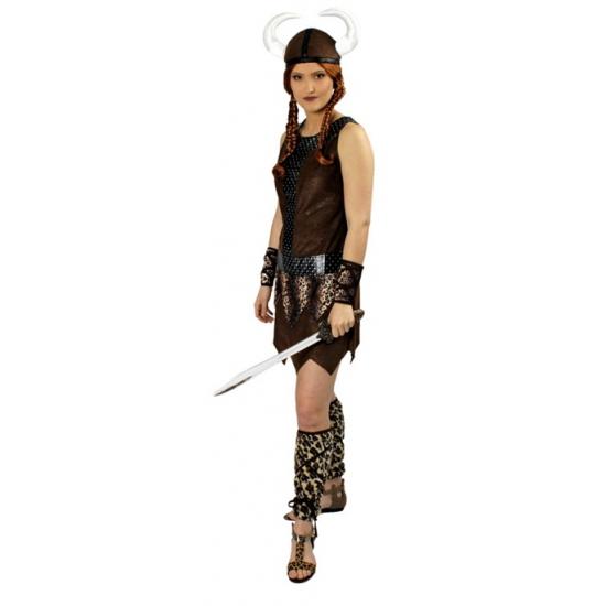 Viking jurkje voor dames. viking kostuum voor dames bestaande uit het jurkje, helm, arm  en beenstukken. ...