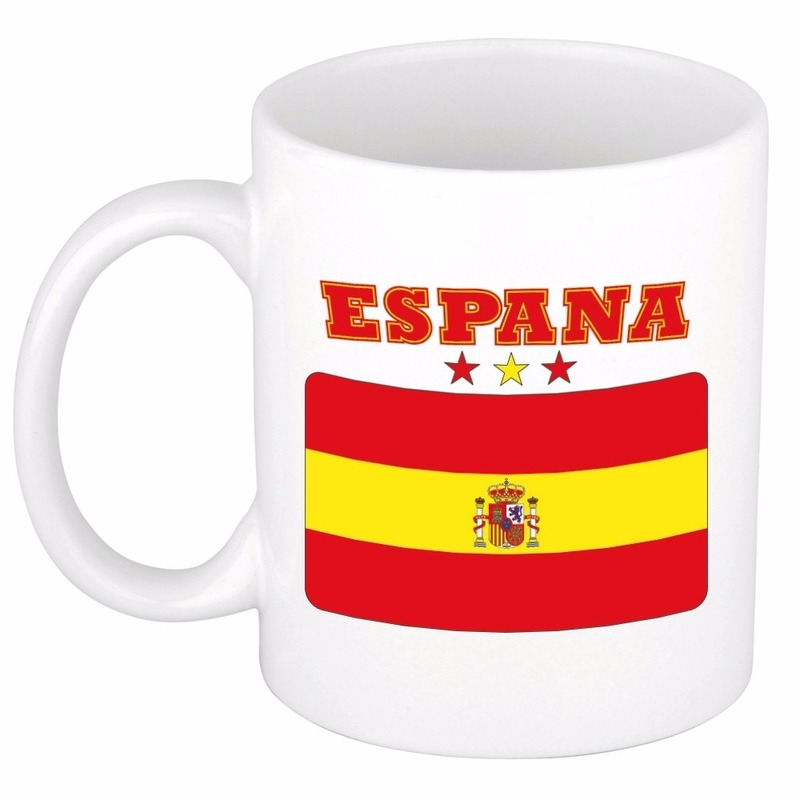Shoppartners Vlag Spanje beker 300 ml Landen versiering en vlaggen