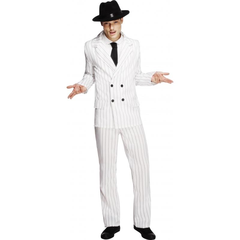 Wit gangsterpak voor mannen. dit gangster pak voor heren is wit met zwarte strepen. dit stoere gangsterpak ...