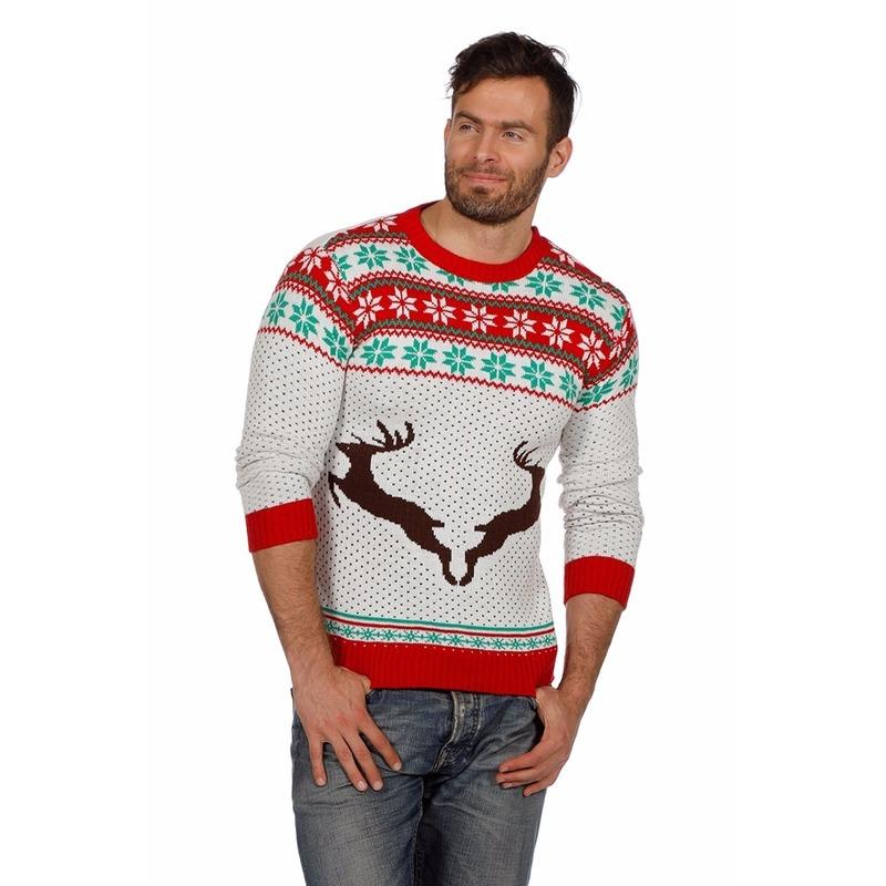 Witte kersttrui met rendieren voor volwassenen. witte kerstmis trui met winterse print en rendieren op de ...