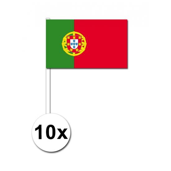 Zwaaivlaggetjes Portugal 10 stuks Geen Landen versiering en vlaggen