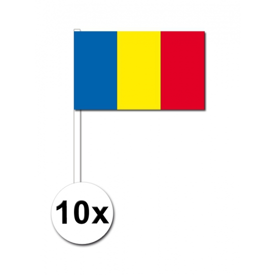 Landen versiering en vlaggen Zwaaivlaggetjes Roemenie 10 stuks
