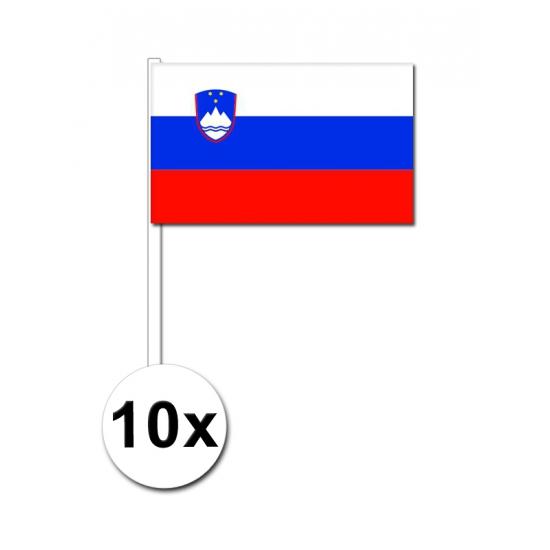 Landen versiering en vlaggen Zwaaivlaggetjes Slovenie 10 stuks