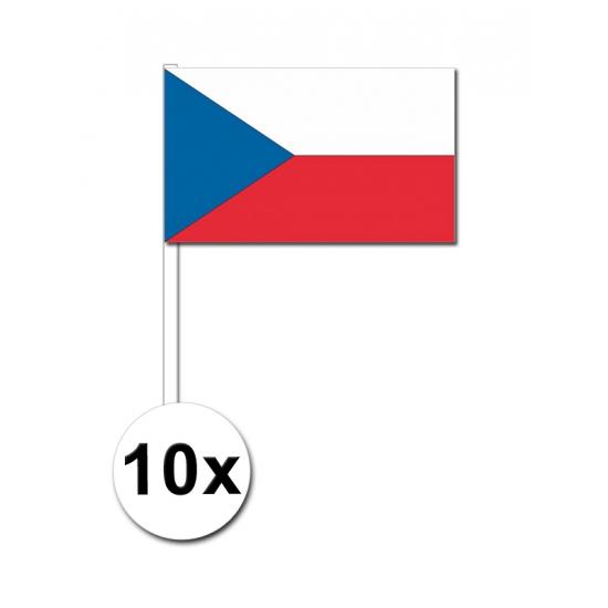 Zwaaivlaggetjes Tsjechie 10 stuks Geen Landen versiering en vlaggen