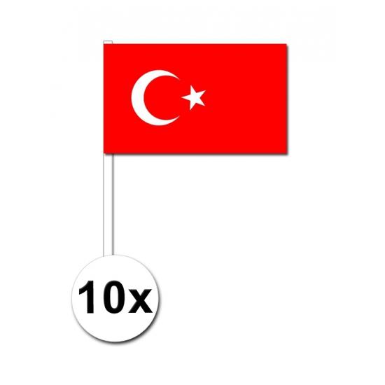 Landen versiering en vlaggen Zwaaivlaggetjes Turkije 10 stuks