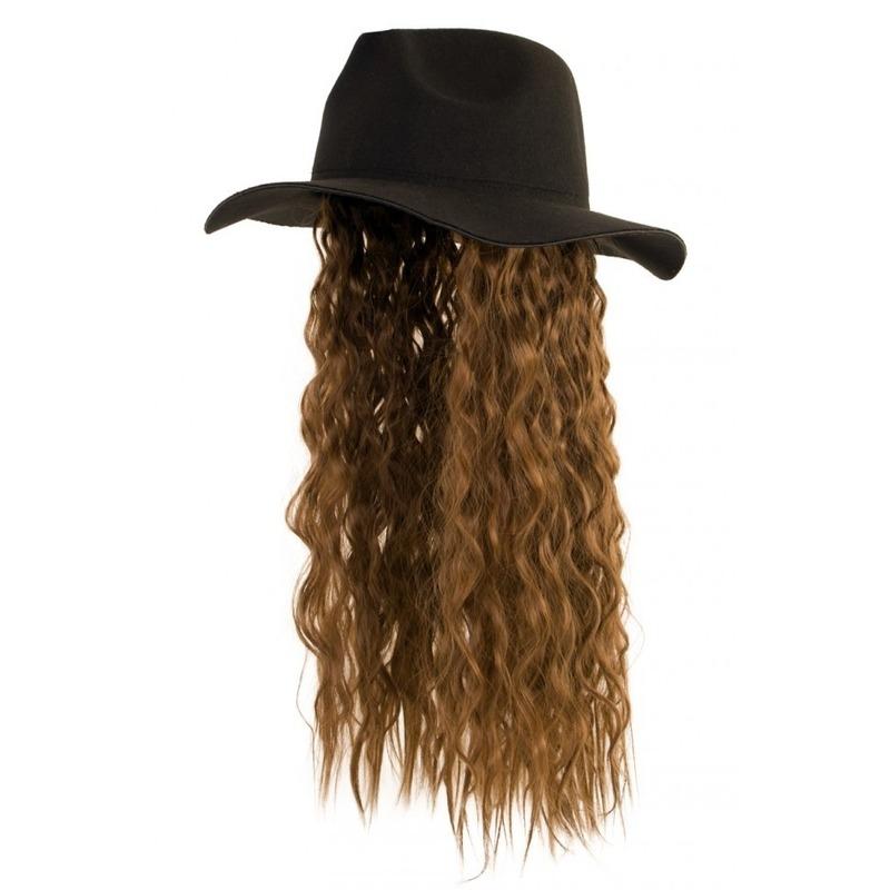Zwarte hoed met haarstuk lange bruine krullen