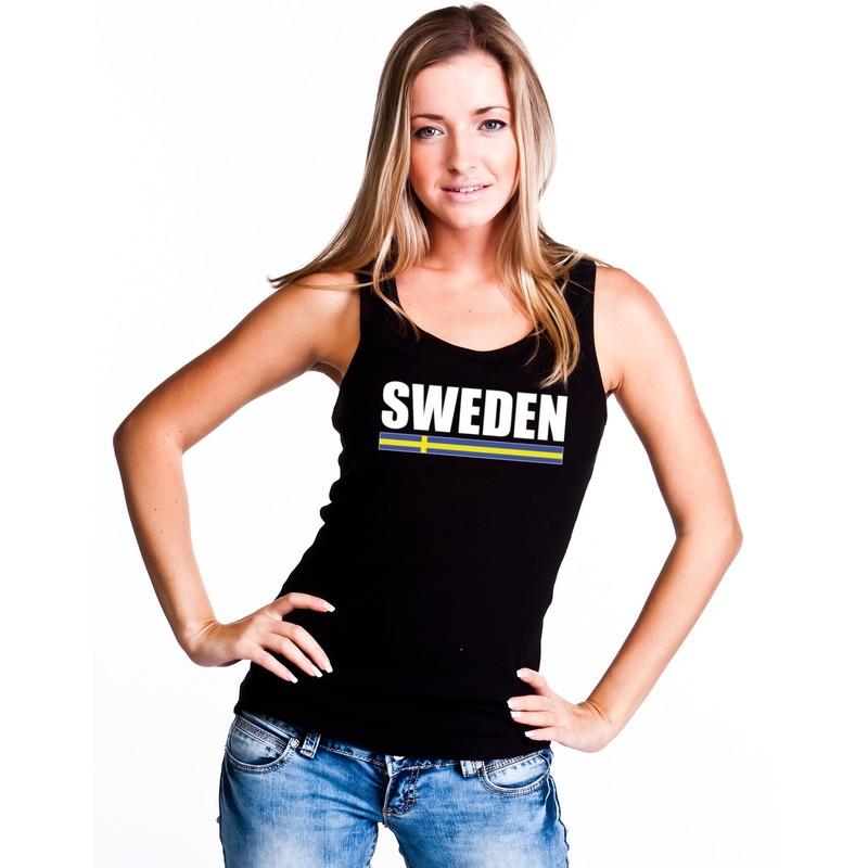 Zweden supporter mouwloos shirt tanktop zwart dames Shoppartners Landen versiering en vlaggen