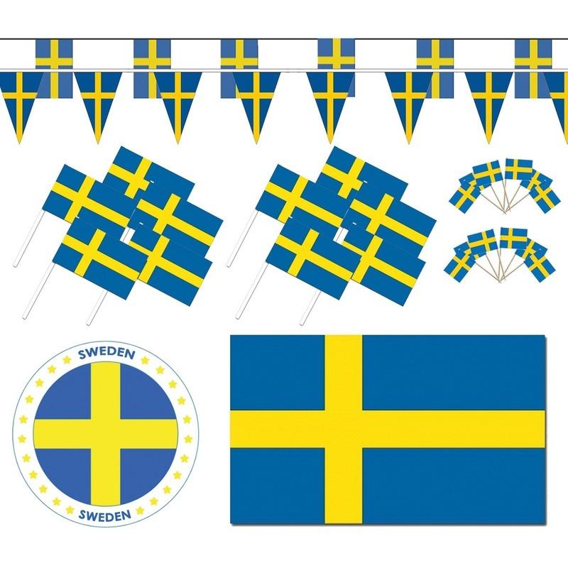 Landen versiering en vlaggen Zweedse decoraties versiering pakket XL