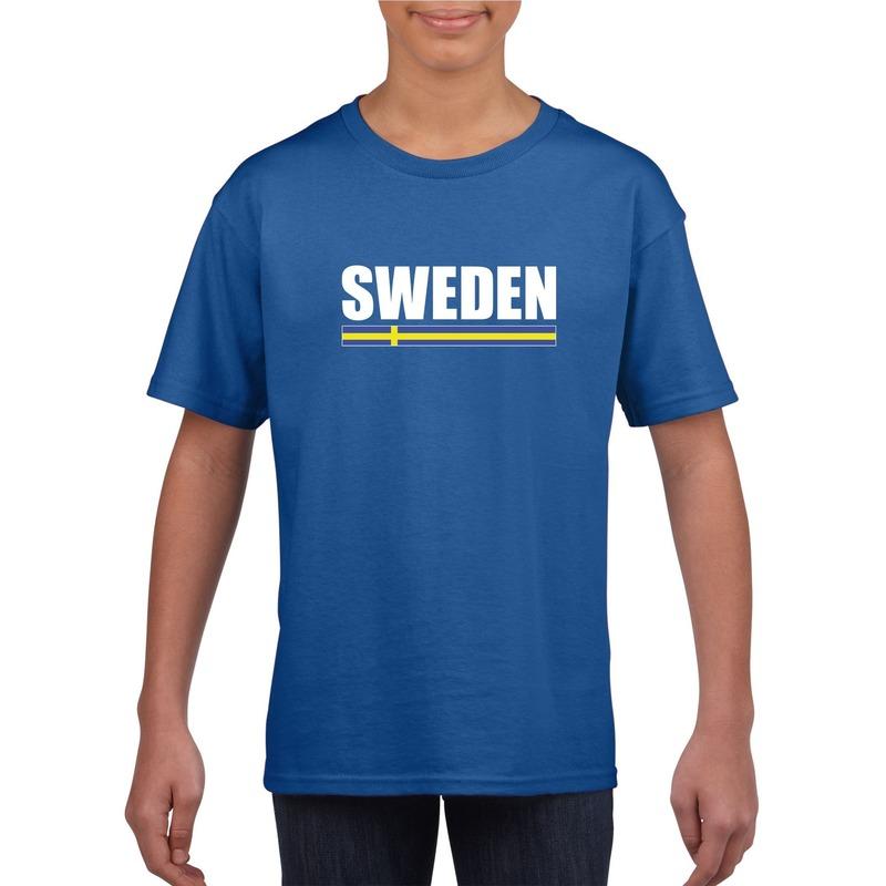 Zweedse supporter t shirt blauw voor kinderen Shoppartners Landen versiering en vlaggen