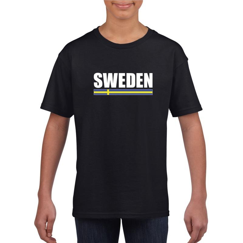 Shoppartners Zweedse supporter t shirt zwart voor kinderen Landen versiering en vlaggen