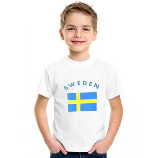 Zweedse vlag t shirts voor kinderen Shoppartners Landen versiering en vlaggen