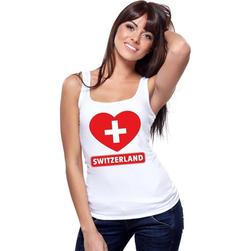 Shoppartners Zwitserland hart vlag mouwloos shirt wit dames Landen versiering en vlaggen