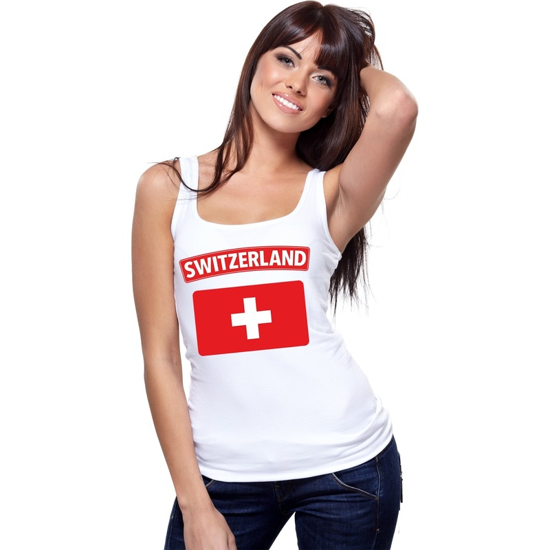 Zwitserland vlag mouwloos shirt wit dames Shoppartners Landen versiering en vlaggen