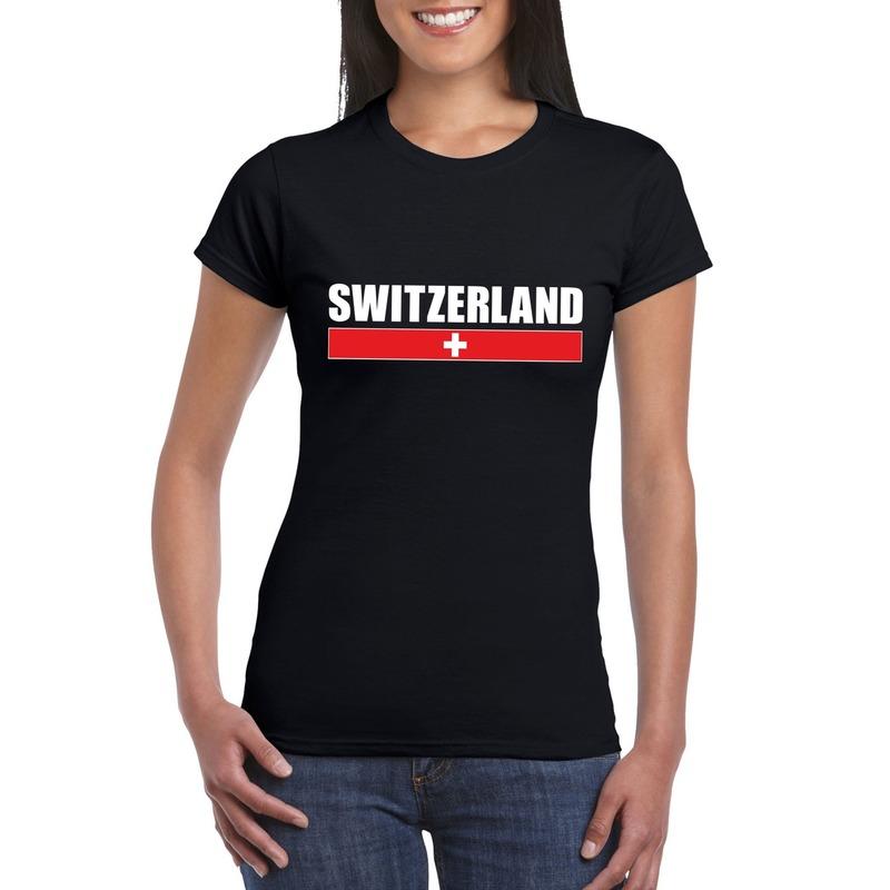 Zwitserse supporter t shirt zwart voor dames Shoppartners Kopen
